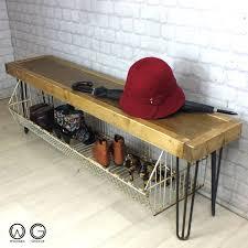 industrial storage bench vintage industrial hairpin legs reclaimed rustic timber hallway