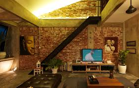 interesting industrial loft apartment concept design with artistic