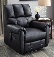 flash furniture massaging leather recliner and ottoman black