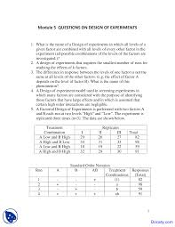 design of experiments six sigma quiz docsity