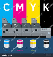 offset machine color paint print cyan stock vector 375038488