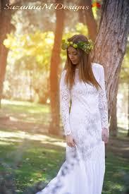 wedding dress 70s romantic wedding dress long lace wedding dress
