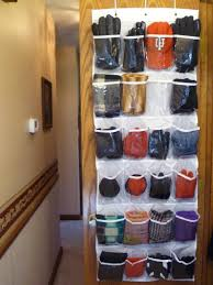 store hats gloves and scarves in an over door shoe organizer