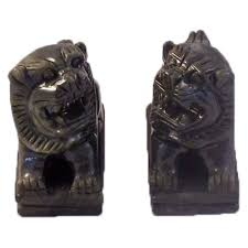 small foo dogs small pair jade gemstone fu foo dogs temple lions sculpture asian