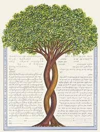 interfaith ketubah intertwining trees ketubah by miriam karp ketubahs and more
