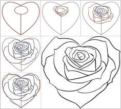 coloring pages winsome pics roses draw rose drawings heart