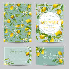 What Is Rsvp On Invitation Card Save The Date Card Lemon Leaves And Flowers Wedding Card