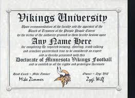minnesota vikings football fan certificate diploma gift