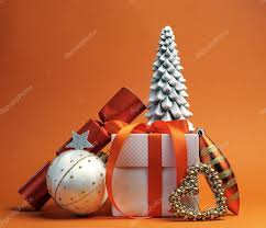 orange theme christmas tree gift and baubles festive holiday