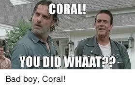 Coral Meme - coral you did whaat bad boy coral bad boys meme on me me