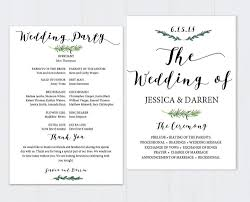 template for wedding program greenery wedding program template