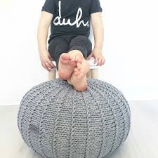 Ottoman Knitted Small Grey Floor Pouf Pouf Ottoman Knitted Pouf Knit