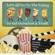 lobby dancing snacks metal sign 24 x 12 theater signs