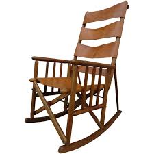 portable rocking chair mid century teak and leather folding