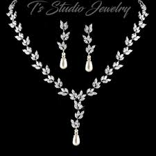 pearl bridal necklace images Cz cubic zirconia and pearl bridal necklace earrings wedding jewelry jpg