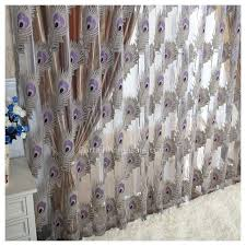Peacock Curtains Designed Polyester And Yarn Blended Peacock Curtains