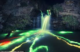 what creates the northern lights california s northern lights glow sticks in waterfalls creates