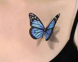 blue butterfly on butterfly tattoos 3d