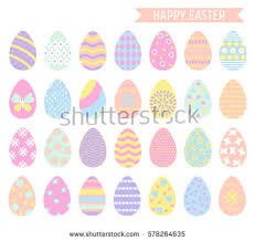 pastel easter eggs easter eggs icons pastel colors isolated stock vector 578264635