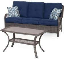 Hanover Patio Furniture Hanover Orleans Grey 2 Piece All Weather Wicker Patio Conversation