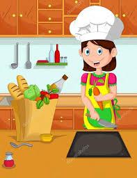 cuisine dessin animé cuisinier de dessin animé mignon maman dans la cuisine