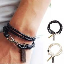 man bracelet cross images 1pc fashion male bracelet jewelry christmas gift leather pulseira jpg