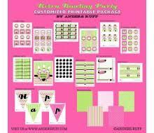 retro bowling birthday party printable invitation pink green