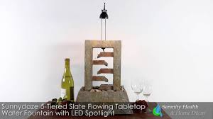 sunnydaze 5 tiered slate flowing tabletop water fountain with led