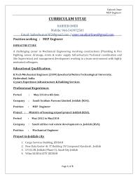 Mechanical Engineer Resume Sample Doc by Mep Engineer Cv Habeeb Omer