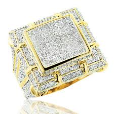 mens gold diamond rings large mens diamond ring 5 34ct 14k gold mens jewelry if itshot