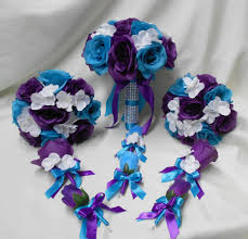 purple and turquoise wedding wedding silk flower bridal bouquets package purple turquoise