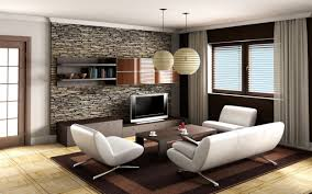 white living room wall with stone fireplace and brown wooden