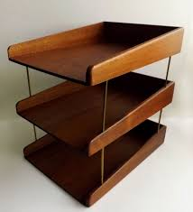 Pier One Desk Organizer by Danish Modern Teak Or Walnut Wood 3 Tier Desk Letter Tray Paper