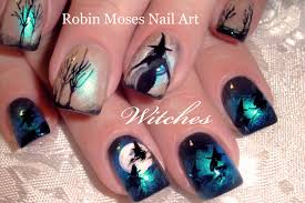 diy halloween nails witches flying over moon nail art design