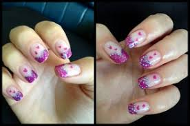 entry valentine u0027s nail art u2013 pink and purple french simple nail