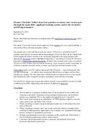 Resume Critique 100 Resume Checklist Resume Checklist Career Services Free