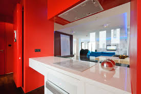 excellent white and red themes kitchen decors with white counter