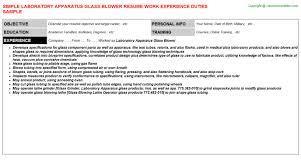 Helper Resume Sample by Laboratory Apparatus Glass Blower Resume Sample