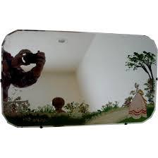 scottish beveled wall mirror hand painted garden scene w birds c