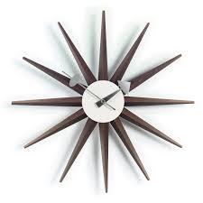 walnut sunburst wall clock designer clocks apres furniture
