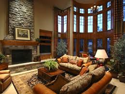 traditional luxury family room decoration with magnificent stone