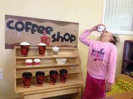 preschool coffee shop i made cotton ball stuffed cups to look as
