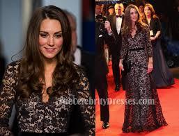 kate middleton black lace dress war horse premiere formal gown