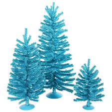 aqua teal christmas trees wreaths and garlands