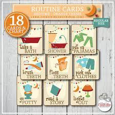 printable evening schedule bedtime routine cards 18 printable cards orange evening