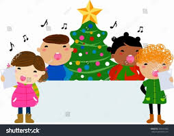 group children singing around christmas tree stock vector