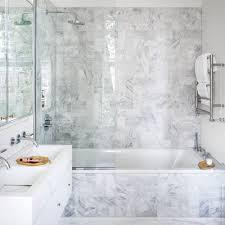 bathroom grey black ceramic backsplash white alcove bathtub wall