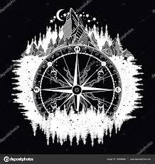 wind art mountain antique compass and wind rose tattoo art u2014 stock vector
