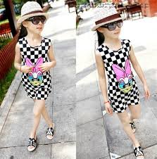 2015 cool fluorescent color grid donald duck baby girls dresses