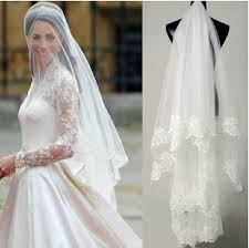 wedding dress accessories lace edge layer wedding veils with lace quality wedding